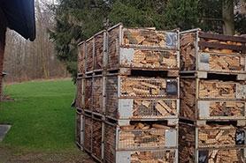Gitterboxen mit Brennholz